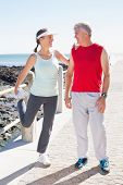Fit mature couple warming up together on the pier on a sunny day