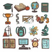 picture of sketch book  - Retro school education colored sketch icons set of graduation hat book calculator isolated vector illustration - JPG