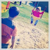 Kids at the playground - Brother and sister - grainy Instagram effect