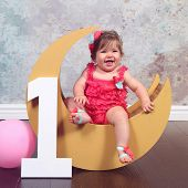 Baby first birthday, number one, moon prop