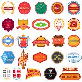 Big set of flat colored vintage labels