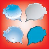 Dialog Speech Bubbles Icons On Red Background