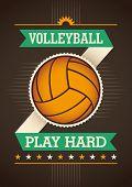 Volleyball poster design. Vector illustration.