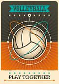 stock photo of volleyball  - Retro volleyball poster design - JPG