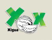 Fruits and vegetables alphabet - letter X - vector eps 10 illustration