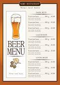 Menu for beer