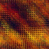 art abstract pixel geometric seamless pattern; background in gold, brown, orange and red colors
