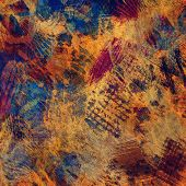art abstract colorful acrylic and pencil background in blue, brown and orange colors