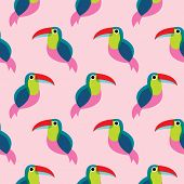 Seamless brazil tucan bird exotic illustration background pattern in vector