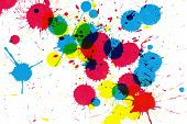 Colorful ink splatter on white paper