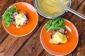 pic of benediction  - English muffin with bacon egg benedict with hollandaise sauce and arugula salad - JPG