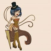 vector steampunk  women