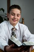 Young Boy Studying Scriptures