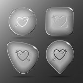 Heart and arrow. Glass buttons. Vector illustration.