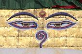 Buddha Wisdom Eyes On Stupa Of Nepal Temple