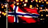 Norway National Flag Torn Burned War Freedom Night 3D