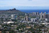 pic of waikiki  - Corner of Diamondhead and the city of Honolulu on Oahu on a nice day - JPG