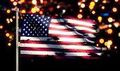 Usa America National Flag Torn Burned War Freedom Night 3D