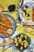Grill Mackerel With Potatos Salad