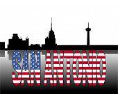 San Antonio skyline reflected with American flag text vector illustration