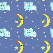 pattern with night sky, moon, pillows and stars, hand drawn illustration