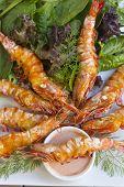 Grilled Skewered Shrimps
