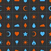 Random abstract icons seamless pattern.