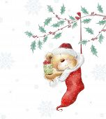 Cute teddy bear with the gift in the Santa hat.Childish illustration in sweet colors.Background with