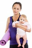 Mother Going To Do Fitness Exercises With Her Baby
