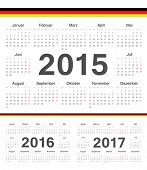 Vector German Circle Calendars 2015, 2016, 2017