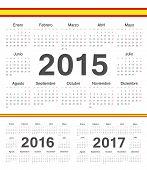 Vector Spanish Circle Calendars 2015, 2016, 2017