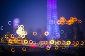 Blurred city lights and office buildings, guanzhou china.