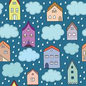 Rainy city vector seamless pattern.