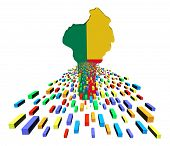 Benin map flag with containers illustration