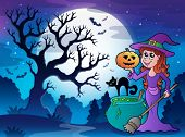 Scenery with Halloween character 1 - eps10 vector illustration.