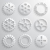 Gear wheels icon set. Nine 3d gears on a light gray background
