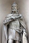 CAKOVEC, CROATIA - JAN 11: Saint Ladislaus I of Hungary on portal of the church of St. Nicholas  in