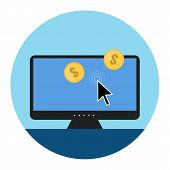 Pay Per Click Icon. Flat Style Illustration.