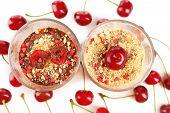 Tasty cherry dessert close up