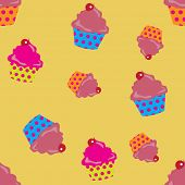 cute cupcakes seamless background.