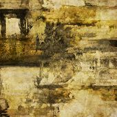 art abstract acrylic and pencil background in grey, yellow, black and brown colors