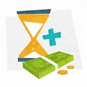 Time is Money. Money and Time Management Concept Icons. Sandglass with Dollars and Coins. Flat Style