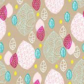 Seamless colorful pastel raw garden leaves illustration background pattern in vector