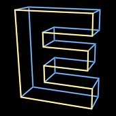 glowing letter E isolated on black background