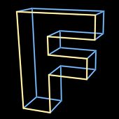 glowing letter F isolated on black background