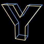 glowing letter Y isolated on black background