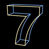 glowing number 7 isolated on black background