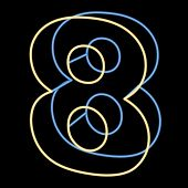 glowing number 8 isolated on black background