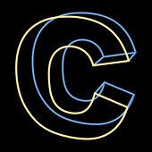 glowing letter C isolated on black background