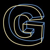 glowing letter G isolated on black background